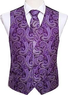 Barry.Wang Set of 5 Mens Vest Paisley Woven Tie Handkerchief Cufflink Clip Suit Waistcoat Formal