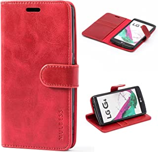 Mulbess LG G4 Protective Cover, Magnetic Closure RFID Blocking Luxury Flip Folio Leather Wallet Phone Case with Card Slots and Kickstand for LG G4, Wine Red