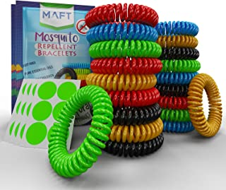 MAFT Mosquito Repellent Bracelets, 20pcs Insect & Bug Repellent Bands, [Individually Wrapped] 100% Natural, Deet-Free & Non-Toxic, Indoor Outdoor Protection for Kids & Adults