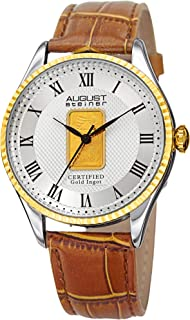 August Steiner Mens Quartz Watch, Analog Display and Leather Strap AS8217BRG