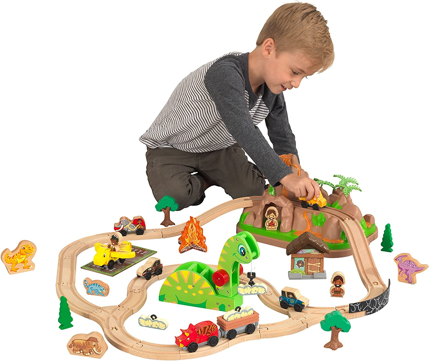 KidKraft 18016 Bucket Top Dinosaur Wooden Train Track Set for kids, classic railway with accessories included (56 pcs)