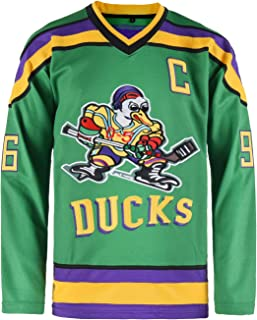 Lduk CL Mens Conway #96 Mighty Ducks Movie Ice Hockey Jerseys White/Green