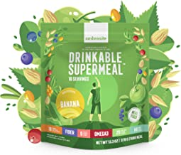 Meal Replacement Nutritional Shake by Ambronite - BANANA - High Fiber Superfood & Protein Drink for Healthy Weight Loss - All Natural Smoothie Mix for Men and Women - 13.3 oz, 1600 cal Pouch