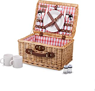 Picnic Time Catalina English Style Picnic Basket with Service for Two, Red and White Plaid
