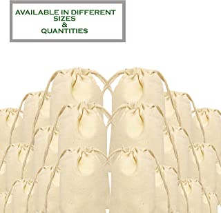 100% Organic Cotton, Biodegradable and Reusable Premium Quality Muslin Drawstring Bags,Size :6x10 inches (Pack of 25)