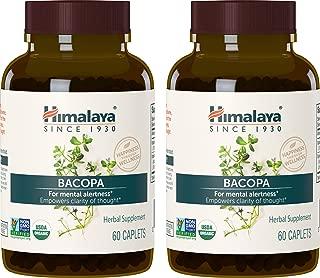 Himalaya Organic Bacopa/Brahmi, 60 Caplets for Mental Alertness, Cognitive Health & Memory Support 750 mg, (Pack of 2)