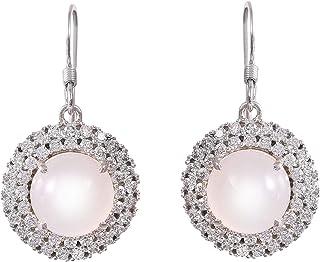 Redgem Silver Dangle Earrings for Women and Girls Natural Moonstone White