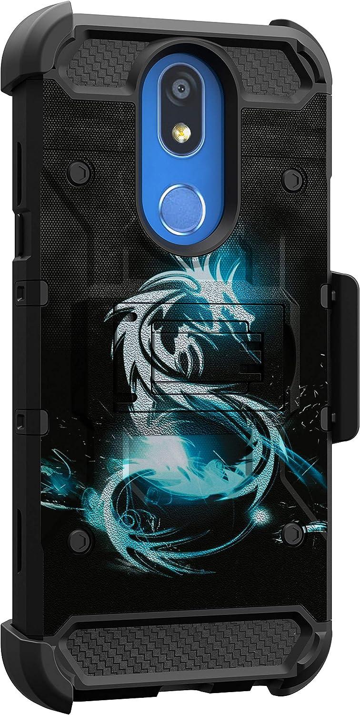 MINITURTLE Compatible with LG K40, LG K12 Plus, LG Harmony 3, LG Xpression Plus 2, LG Solo, LG X4 Triple Layer Belt Clip Holster Armor Kickstand Case [Max Guard] - Blue Dragon
