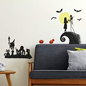 RoomMates RMK4068SCS Nightmare Before Christmas Silhouette Peel and Stick Wall Decals