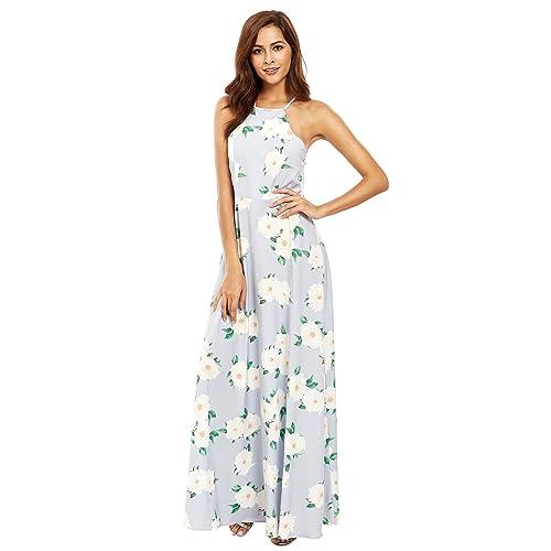 a966a846f1 Floerns Women's Sleeveless Halter Neck Vintage Floral Print Maxi Dress