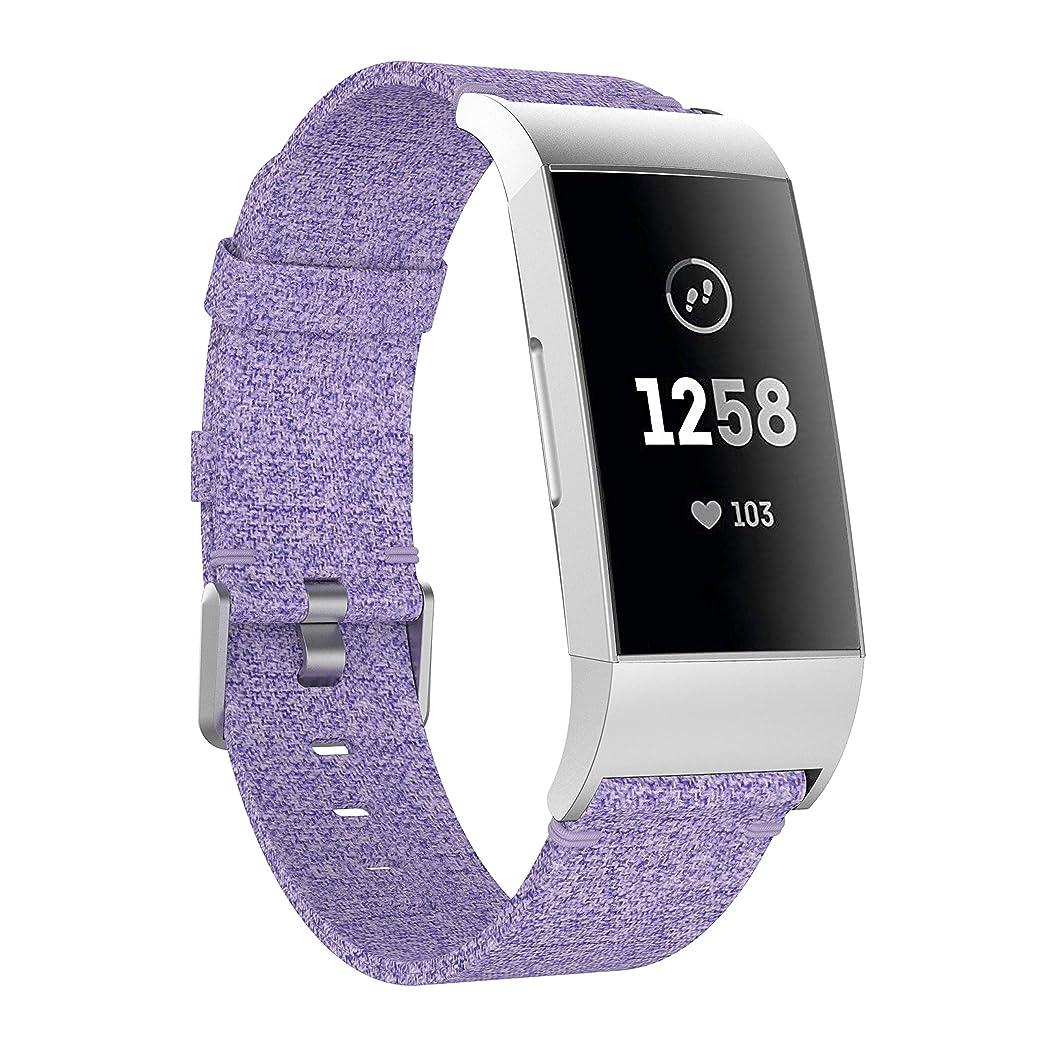 ソファー団結する核YAYUU Compatible Fitbit Charge 3 バンド織りキャンバス、 フィットビット チャージ 3 交換ベルト チャコール織り仕様 多色選択 接続工具付