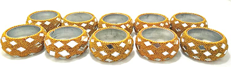 Artshai Set of 10 Decorative Handcrafted Golden Diya Tealight Candle Holder for Christmas and Diwali