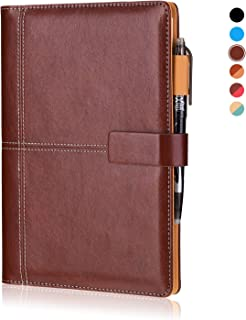 KYSTORE A5 Reusable Smart Erasable Leather Notebook, Notebooks and Journals Hardcover Writing Note Book Executive Notebook Heat Erase Paper Wide Ruled Blank 108 Pages with Erasable Pen [Coffee]