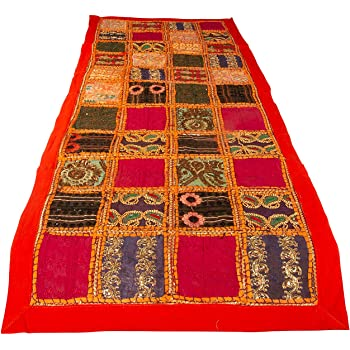 """Tribe Azure Fair Trade Orange Table Runner Cotton 18"""" x 58"""" Hand Embroidered Boho Bohemian Colorful Patchwork Modern Floral Pattern Decoration Wedding Reception Party Decor Tapestry"""