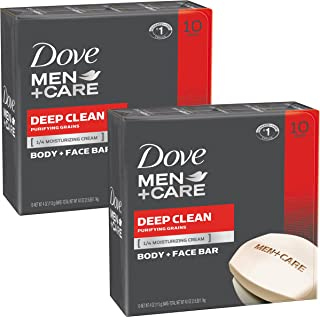 Dove Men + Care Barra corporal y facial, extra fresco, 4 onzas, 10 bar, Deep Clean, 20-Bar