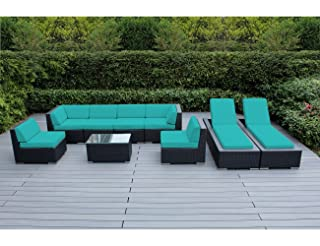 Ohana 9-Piece Outdoor Patio Furniture Sectional Sofa and Chaise Lounge Set, Black Wicker with Sunbrella Aruba Cushions - No Assembly with Free Patio Cover