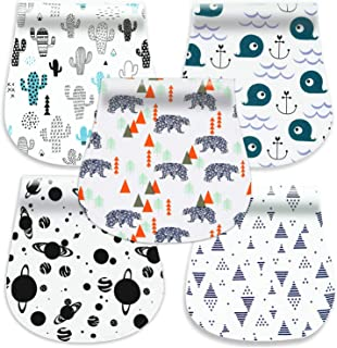 5-Pack Baby Burp Cloths, 100% Organic Cotton Soft Absorbent Burp Rags for Boys Girls