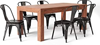 Simpli Home AXCDS7FLEDBL Fletcher Industrial 7 Pc Dining Set with 6 Metal Dining Chairs in Distressed Black and Copper and 72 inch Wide Table