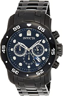 Men's 0076 Pro Diver Collection Chronograph Black Ion-Plated Stainless Steel Watch