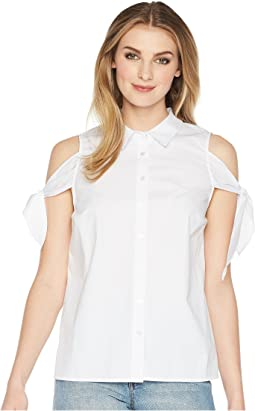 kensie Oxford Shirting Cold Shoulder Top KS5U4063