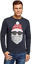 oodji Ultra Homme Sweat-Shirt à Col Rond et Appliqué Père Noël