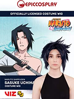 Epic Cosplay Wigs Officially Licensed by Viz Media Naruto Cosplay Wigs Sasuke Uchiha costume wig Blue-Black short hair for Naruto Shippuden Animation enthusiasts cosplay