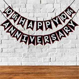 Wobbox 10th Anniversary Bunting Banner, Red Gliter & Black , Anniversary Party Decoration