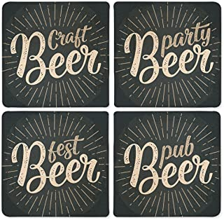 Funny Beer Theme Absorbent Stone Drink Coasters - 4 pieces - Craft, Party, Fest, Pub