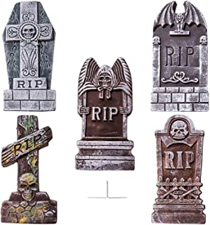 SUNYPLAY Halloween Foam RIP Graveyard Tombstones(5 Pack),Lightweight Gravestone Décor for Halloween Yard Decorations with 12 Metal Stakes.