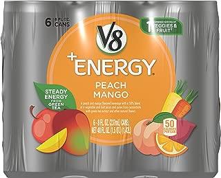 V8 +Energy Healthy Energy Drink, Natural Energy from Tea, Peach Mango, 8 Oz Can, 6 Count