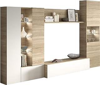 Habitdesign 016642F - Mueble de Comedor con Leds Acabado en Blanco Brillo y Roble Canadian Medida 260 cm de Ancho
