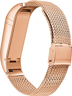 BaiHui Compatible with Fitbit Flex Band Women Men, Stylish Accessory Stainless Steel Bracelet Replacement Strap for Fitbit Flex No Tracker (Rose Gold,Small)