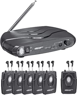 Hamilton Buhl Assistive Listening Dual Frequency System ALS700 with Transmitter, 6 Receivers & Earbuds, Carry Case