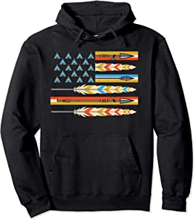 USA Flag Indian Native American Mystical Feather Native  Pullover Hoodie
