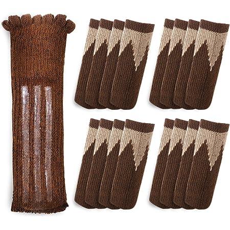 [Bildap] 椅子カバー チェアカバー 椅子 あし カバー いすの足カバー チェアソックス 16枚入 【内側にシリコンが付き 滑り防止】 騒音・傷防止 (ブラウン&茶色 模様あり)