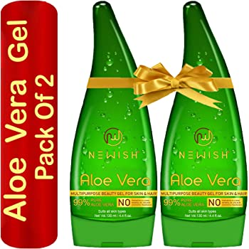 Newish Pure Aloe Vera Gel Combo for Face, Skin & Hair Set of 2 (130 ml Each)
