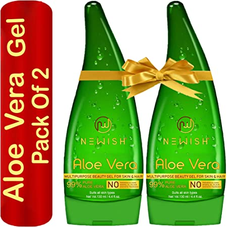 Newish Pure Aloe Vera Gel Combo for Face, Skin & Hair, 130 ml (Pack of 2)