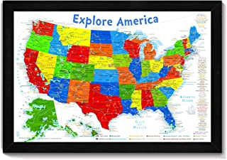USA Map for Kids | Push Pin Tracking Map or Wall Map | Framed map on foam core | Includes 100 map pins | Size: 24x18 inch map + Frame