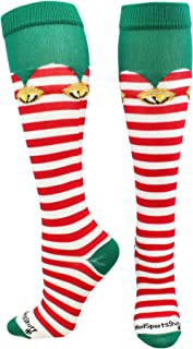 Elf Christmas Socks with Bells Over The Calf Length