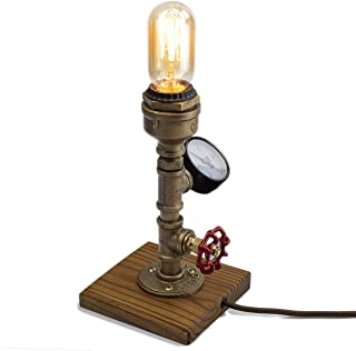 Steampunk Lamp with Dimmer, Dimmable Loft Style Industrial Vintage Antique Style Light with Bulb, Wood Base with Iron Piping Desk Lamp, Retro Desk Lamp LL-025