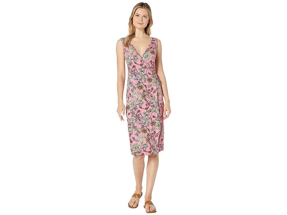Bobeau Missy Tank Wrap Midi Dress (Coral Floral) Women