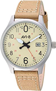 Men's AV-4053 Hawker Hurricane Altimeter Edition Stainless Steel Japanese-Quartz Aviator Watch with Leather Strap