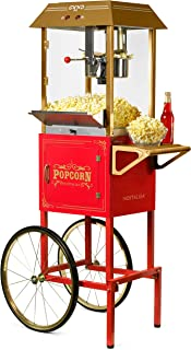 Nostalgia CCP1000RED Vintage 10-Ounce Professional Popcorn and Concession Cart, 59 Inches Tall, Makes 40 Cups, With Kernel Measuring Cup, Oil Measuring Spoon and Scoop, 19-Inch Wheels