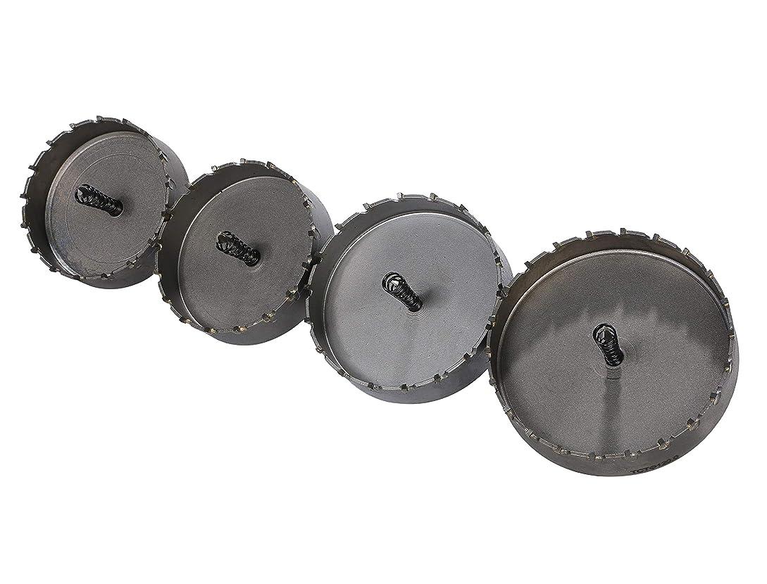 クランシーアラバマ時間超硬ホルソー ホールソー 90mm 95mm 105mm 120mm ステンレス製 センタードリル付き 4点セット Life Palette