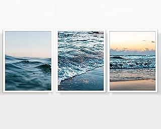 Dusk Ocean Beach Photography Prints, Set of 3, Unframed, Beach Sea Coast Wall Art Decor Poster Sign, 8x10