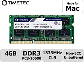 Timetec Hynix IC 4GB Compatible for Apple DDR3 1333MHz PC3-10600 SODIMM Memory for Early/Late 2011 13/15/17 inch MacBook Pro, Mid 2010 and Mid/ Late 2011 21.5/27 inch iMac, Mid 2011 Mac Mini (4GB)
