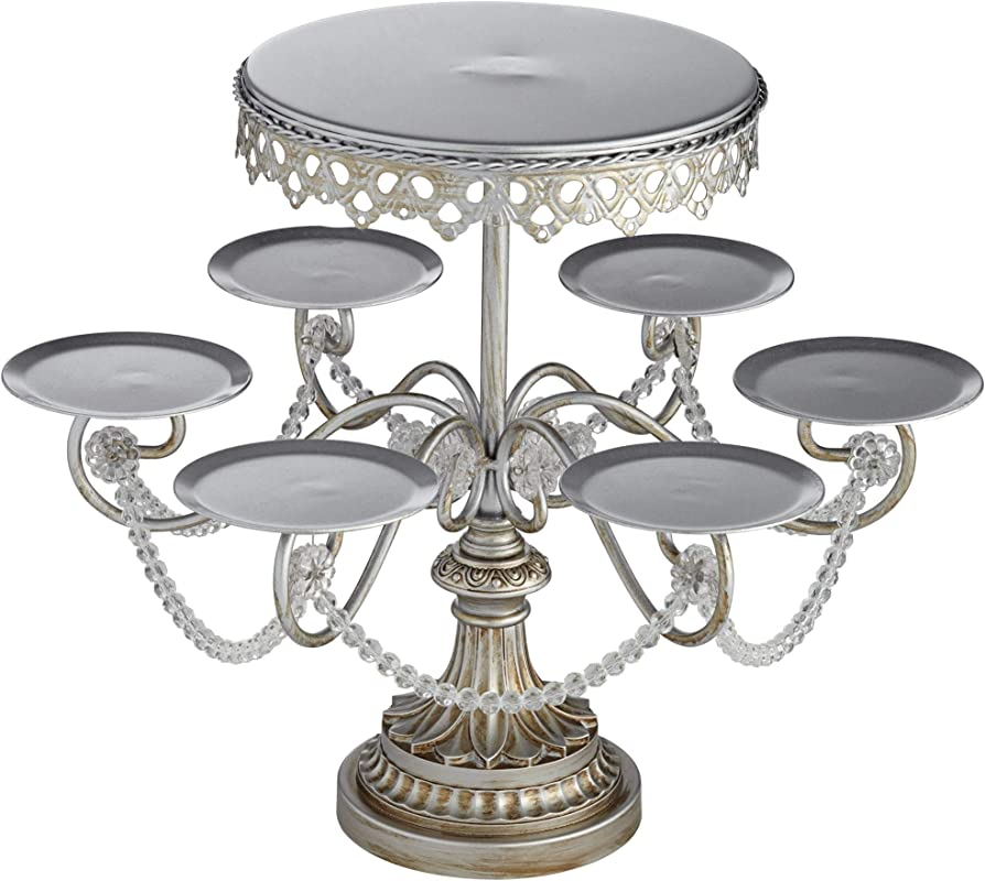 Dahlia Studios Elise Silver Cupcake And Cake Stand Crystal 17 High 2 Tiered Wedding Birthday Party Kitchen Serveware