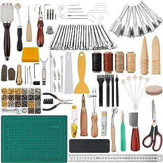 Peirich Trousse d'outils de travail du cuir de 356 pièces, outils et fournitures de travail du cuir, outils d'estampage d'...