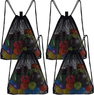 FEPITO Mesh Drawstring Backpack Bags Bulk, Mesh Beach Bag Tote Bag Sports Gym Bag for Swimming, Beach, Travel, Sports