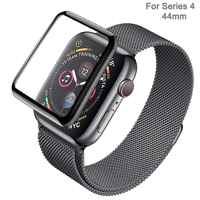 Mercase Apple Watch Screen Protector Series 4 [Full Coverage Protection, ScratchProof, Anti Fingerprint,Bubble-Free,HD Clear,0.25mm Ultra-Thin] 9H hardness iWatch 44mm Tempered Glass Screen Cover Film